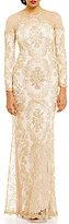 Tadashi Shoji Illusion Shoulder Lace Gown