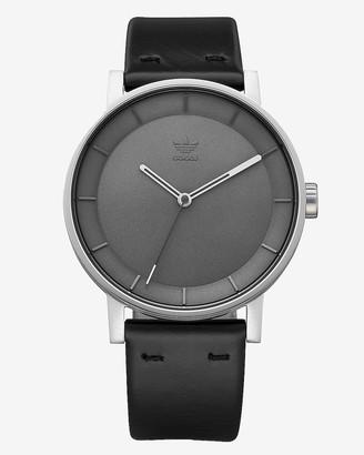 Express Adidas Men'S District L1 Silver Black Leather Strap Watch