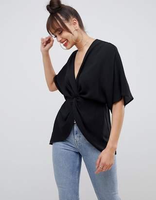 Asos Design DESIGN knot front top with kimono sleeve-Black