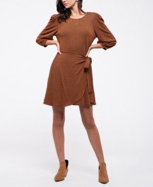 Blu Pepper Ribbed Knit Wrap Skirt Dress