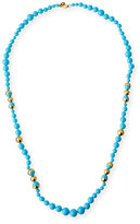 Tory Burch Pearly Chain Rosary Necklace, Turquoise