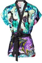 Matthew Williamson Blue Marble Satin Kimono Top