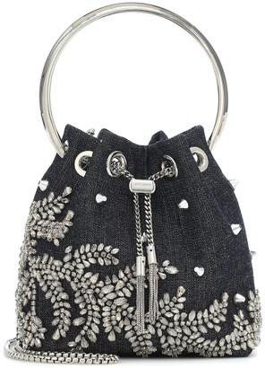 Jimmy Choo Bon Bon embellished denim bucket bag