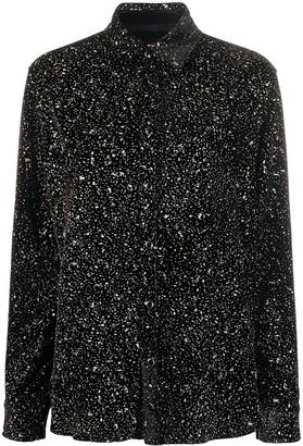 Saint Laurent Glitter-Fleck Velvet Shirt