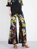 Sandro Floral-print silk-crepe trousers