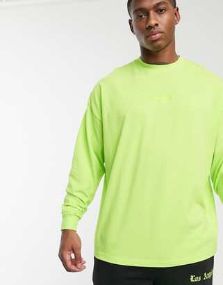 Asos Design DESIGN oversized long sleeve t-shirt with visions embroidery in neon green