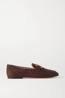 Tod's Catena Embellished Suede Loafers - Dark brown