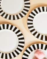 bombay duck Stripy Plates Black & White Set of 4