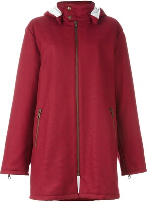 Romeo Gigli Pre Owned Stitch Detail Hooded Coat