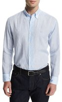 Salvatore Ferragamo Linen Long-Sleeve Sport Shirt with Gancini Chest Embroidery, Blue