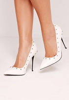 Missguided Studded Court Shoes White