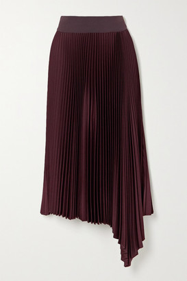 Joseph Asymmetric Pleated Crepe Midi Skirt - Burgundy