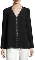 Tory Burch Mallet Long-Sleeve Embellished Silk Tunic, Black