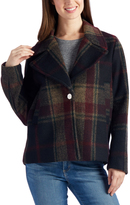 Laundry by Shelli Segal Burgundy Plaid Wool-Blend Jacket