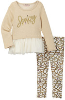 Juicy Couture Charm Mesh Bottom Tunic & Legging Set (Little Girls)