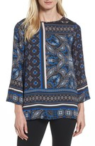Chaus Women's Bell Sleeve Border Print Blouse