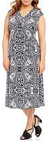 Allison Daley Plus V-Neck Cap Sleeve Printed Fit & Flare Midi Dress