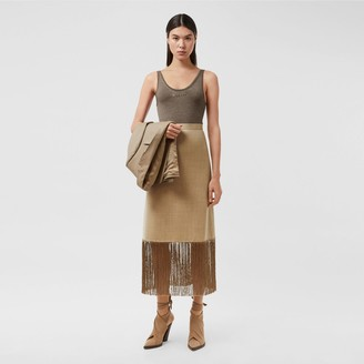 Burberry Fringed Wool Cashmere A-line Skirt