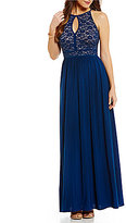 Morgan & Co. Lace-Bodice Keyhole-Neck Gown