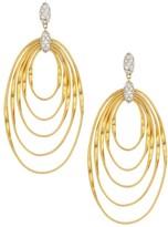 Marco Bicego Marrakech Onde 18K Yellow Gold & Diamond Coil Statement Drop Hoop Earrings