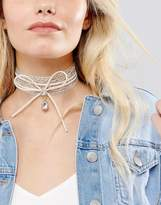 New Look Metallic Lace And Bow Choker