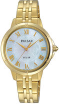 Pulsar Womens Gold-Tone Mother-of-Pearl Solar Bracelet Watch