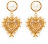 Dolce & Gabbana Faux Pearl-embellished Heart Clip Earrings - Womens - Gold