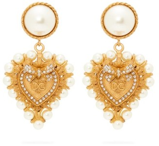 Dolce & Gabbana Faux Pearl-embellished Heart Clip Earrings - Gold