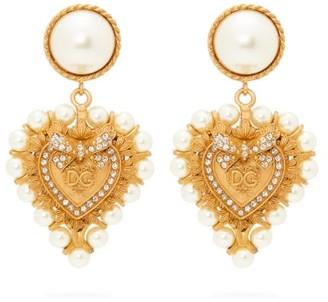 Dolce & Gabbana Faux Pearl-embellished Heart Clip Earrings - Gold