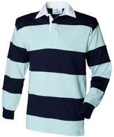 Front Row Sewn Stripe Long Sleeve Sports Rugby Polo Shirt (M)