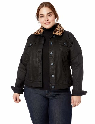 SLINK Jeans Women's Plus Size Zoey Black Coated Jacket 3X