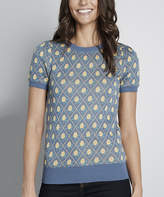 ModCloth Women's Pullover Sweaters - Blue Vintage Floral Jacquard Sweater - Juniors & Plus