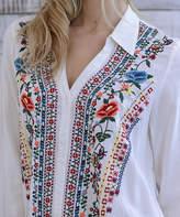 Paparazzi Cream Mission Viejo Embroidery Button-Front Tunic