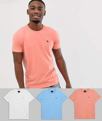 Abercrombie & Fitch 3 pack icon logo crew neck t-shirt in coral/white/light blue-Multi