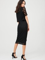 Very Lace Overlay Pencil Dress - Black