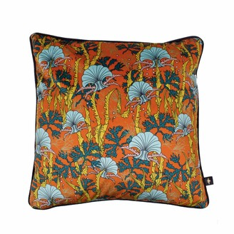 The Curious Department Coral Odyssey Orange Velvet Cushion