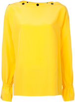 Emilio Pucci button slash neck blouse