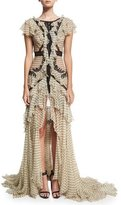 Roberto Cavalli Ruffled Polka-Dot Lace-Inset Gown, White/Black