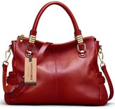 Jack&Chris® Women Vintage Leather Shoulder Handbags Top-handle Tote, SF0951(Red)