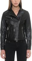 Forzieri Asymmetrical Zip Black Leather Women's Jacket