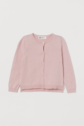 H&M Fine-knit Cotton Cardigan - Pink