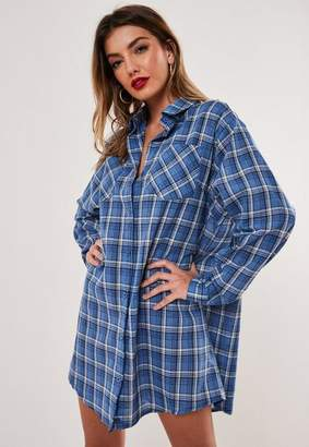 Missguided Blue Plaid Print Oversized Shirt Dress