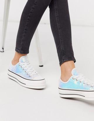 Converse Chuck Taylor Lift platform silver mini sequin sparkle trainers