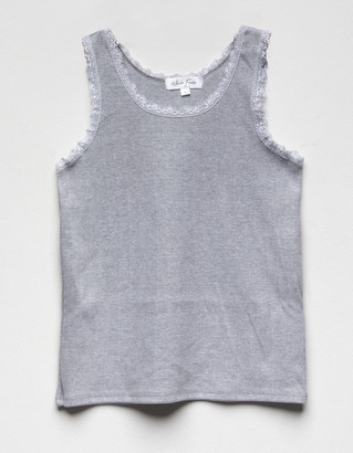 WHITE FAWN Solid Lace Girls Tank Top