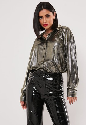 Missguided Gold Shimmer Oversized Shirt