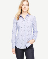 Ann Taylor Embroidered Dot Perfect Shirt