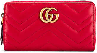 Gucci Leather Zip Around Wallet in Hibiscus Red | FWRD