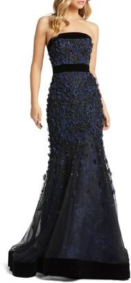 Mac Duggal Strapless Floral Applique Gown
