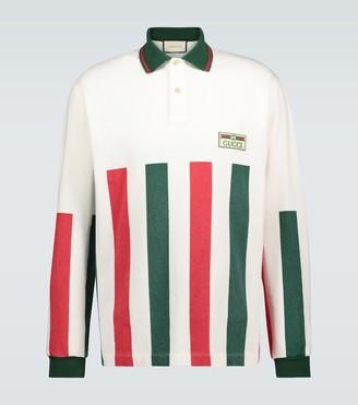 Gucci Web striped long-sleeved polo shirt