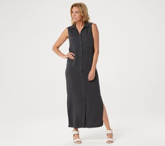 Side Stitch Petite Tencera Button Front Sleeveless Maxi Dress